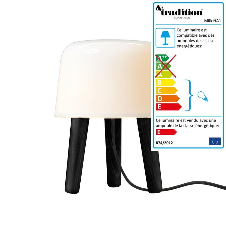 &Tradition - Milk Lampe de table de & Tradition avec câble noir et pieds noirs
