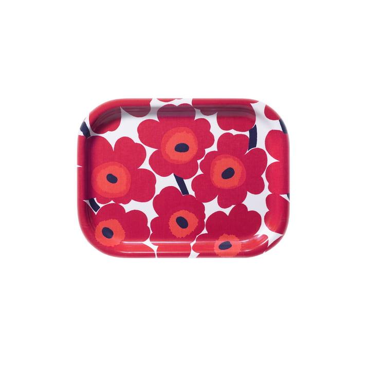 Marimekko - Plateau Mini-Unikko 27 x 20cm, blanc/rouge