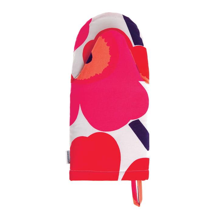 Gant de cuisine Pieni Unikko de Marimekko en blanc/fuchsia/rouge