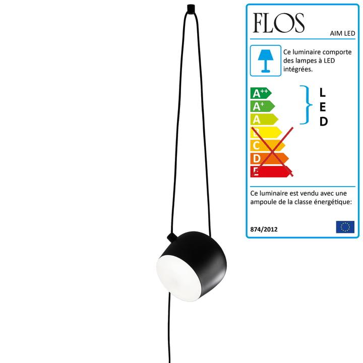 FLOS - AIM LED Suspension lumineuse avec fiche Cable + Plug, noir