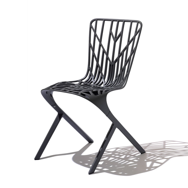 Knoll - Chaise Washington Skeleton Chair, aluminium noir