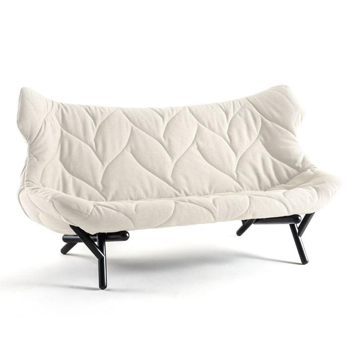 Kartell - Canapé Foliage, housse en laine en blanc, pieds noirs