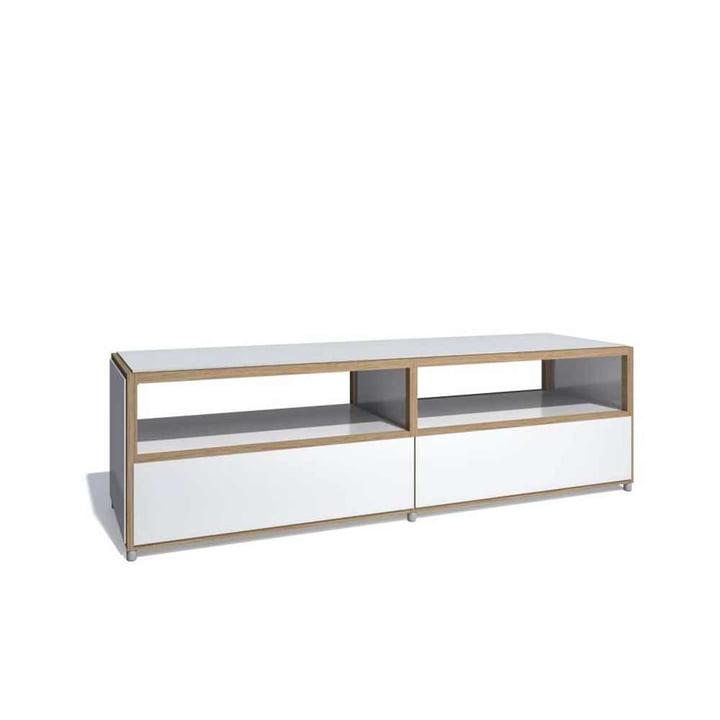 Flötotto – Meuble télé ADD, 2 tiroirs en-dessous, mélaminé blanc