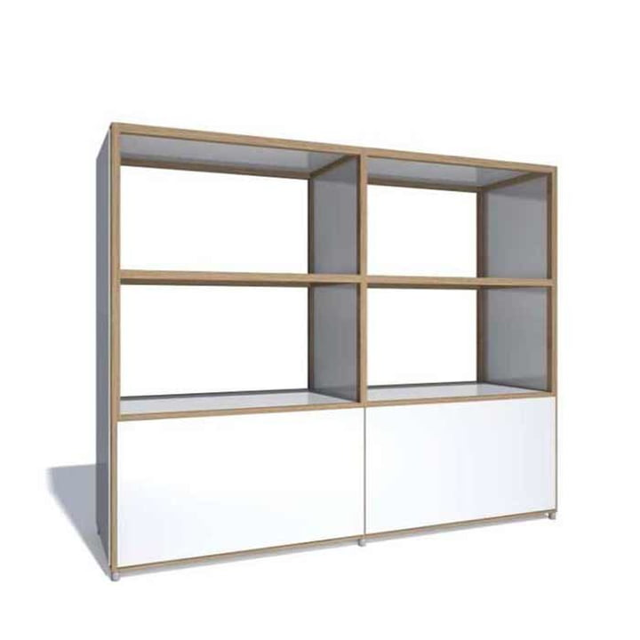 Flötotto – Buffet haut ADD, 2 tiroirs grand volume, mélaminé blanc