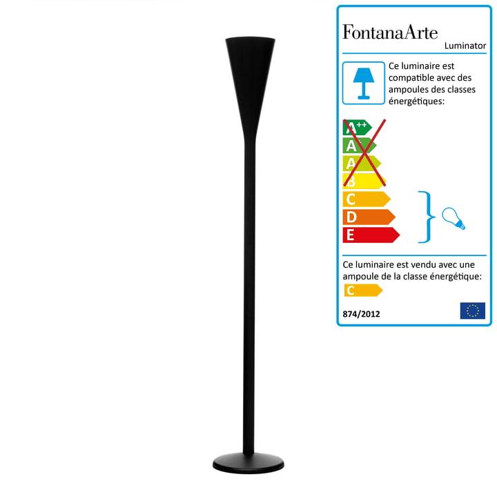 FontanaArte – Lampadaire Luminator, noir mat