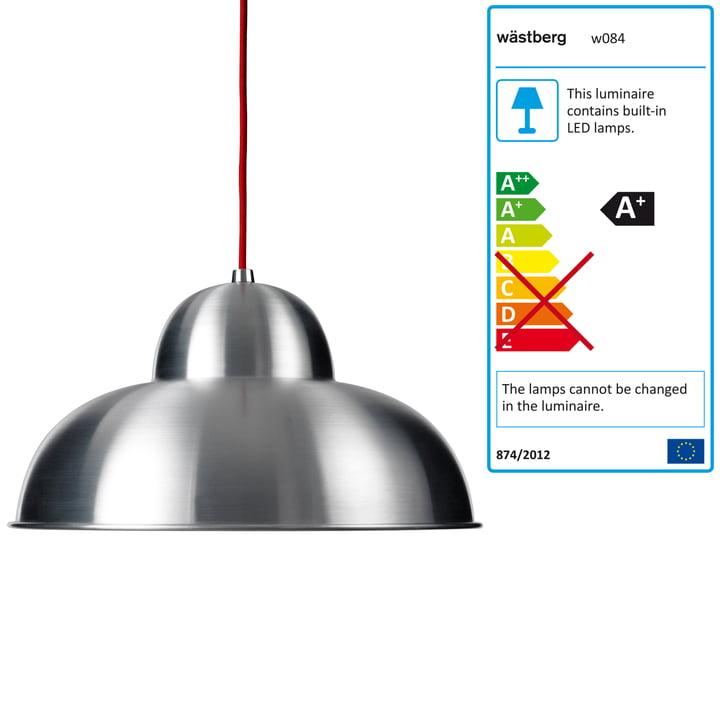 Wästberg - Suspension lumineuse Studioilse w084s, câble rouge