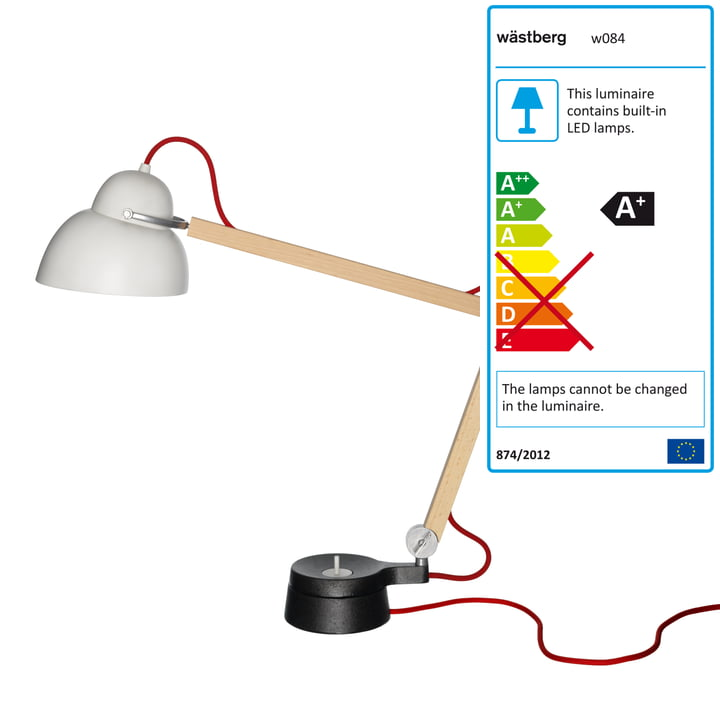 Wästberg - Lampe de table Studioilse w084t2, câble rouge