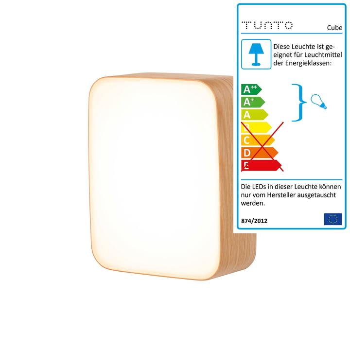 Applique murale Cube S de Tunto en chêne naturel