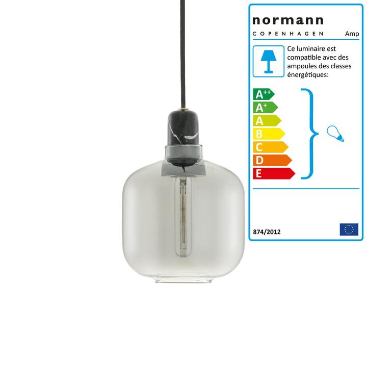Lampe à suspension petite de Normann Copenhagen en fumée / noir