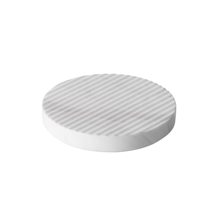 Dessous-de-plat Groove en marbre Ø 16 de Muuto en blanc