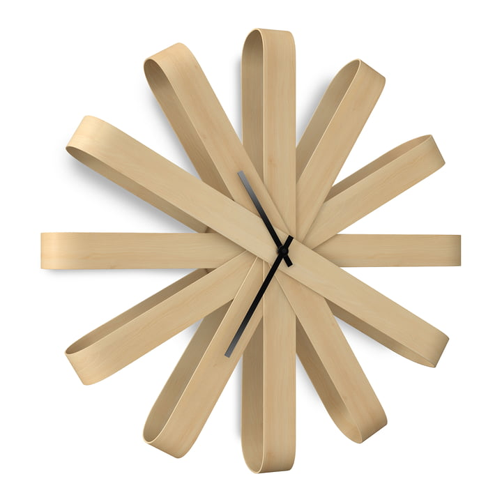 Umbra - Ribbonwood Horloge murale, hêtre naturel