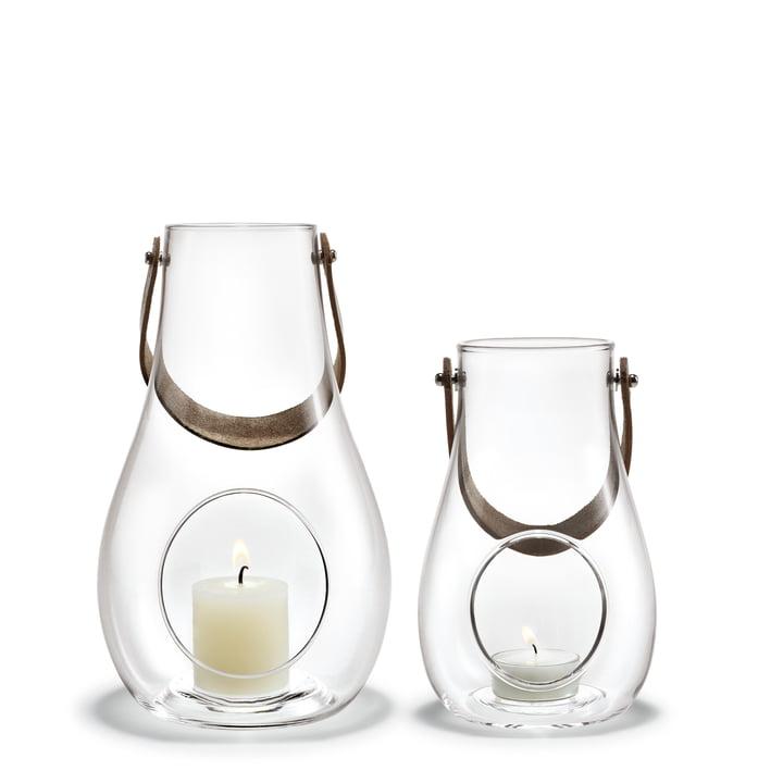 Design avec lanterne légère (lot de 2) H 16 cm + 25 cm de Holmegaard en clair
