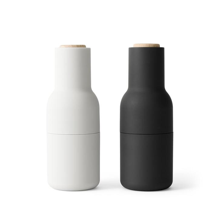 Bottle Moulin à sel et à poivre de Menu en Frêne / Carbone (couvercle en bois)