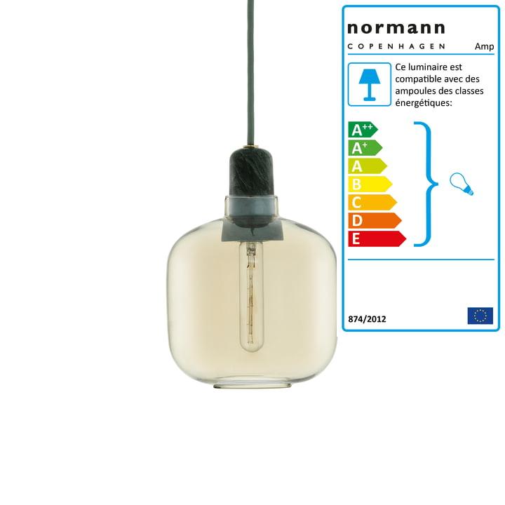 Lampe à suspension petite de Normann Copenhagen en or / vert