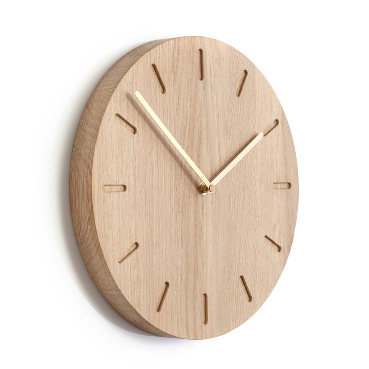 Applicata - Watch:Out Horloge murale, chêne, laiton