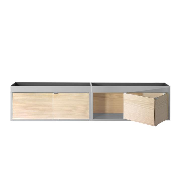 Foin - Armoire murale New Order, horizontale avec étagère, gris clair avec portes en frêne