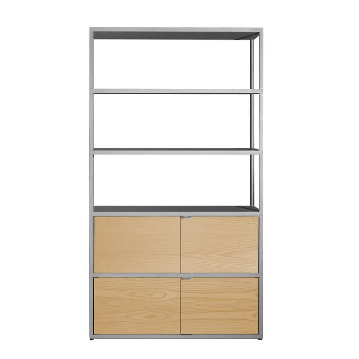 Foin - Etagère New Order, verticale, gris clair avec portes en chêne