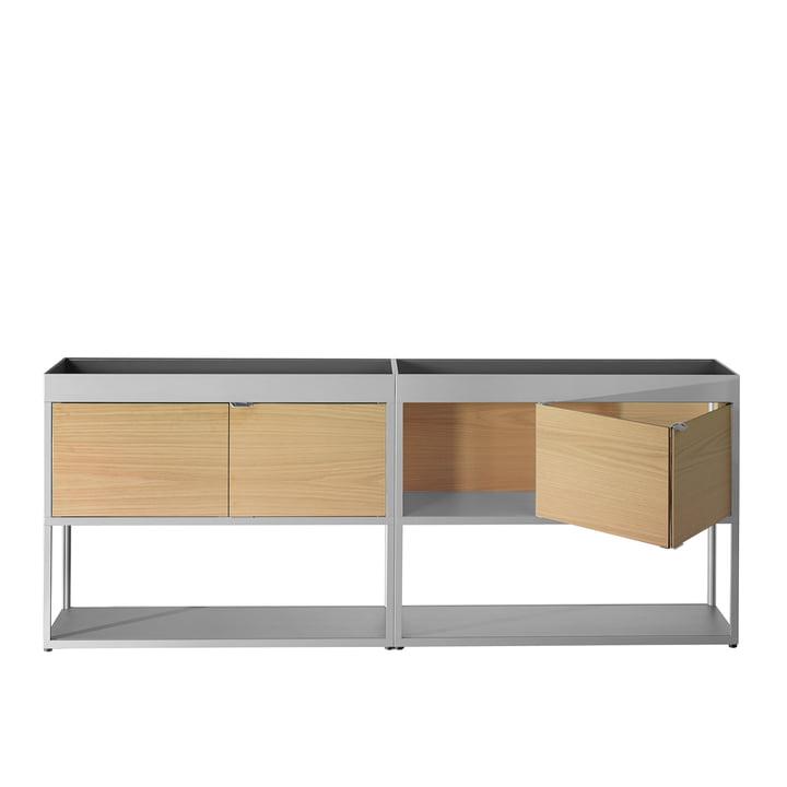 Foin - Buffet New Order, double avec étagère, gris clair avec portes en chêne