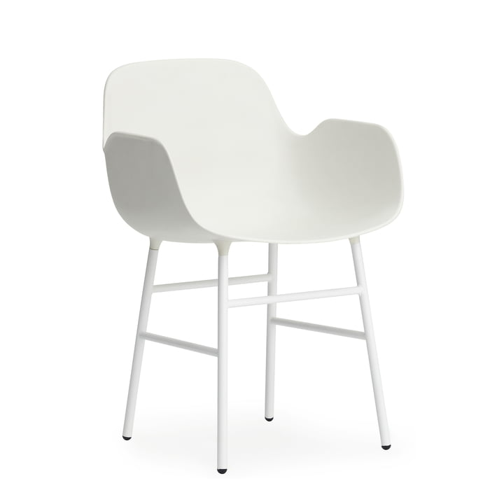 Normann Copenhagen - Fauteuil Form, pieds acier, blanc