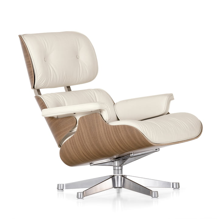 Vitra Lounge Chair, poli / blanc, noyer (classique)