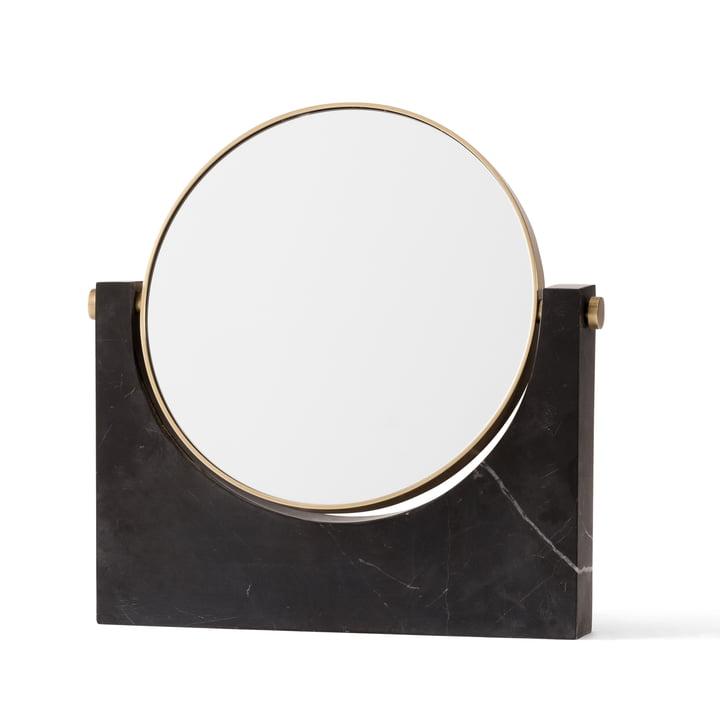 Menu - Miroir en marbre Pepe, laiton/noir