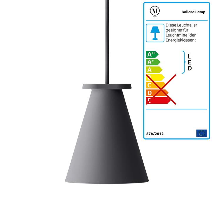 Menu - Lampe Bollard, carbone