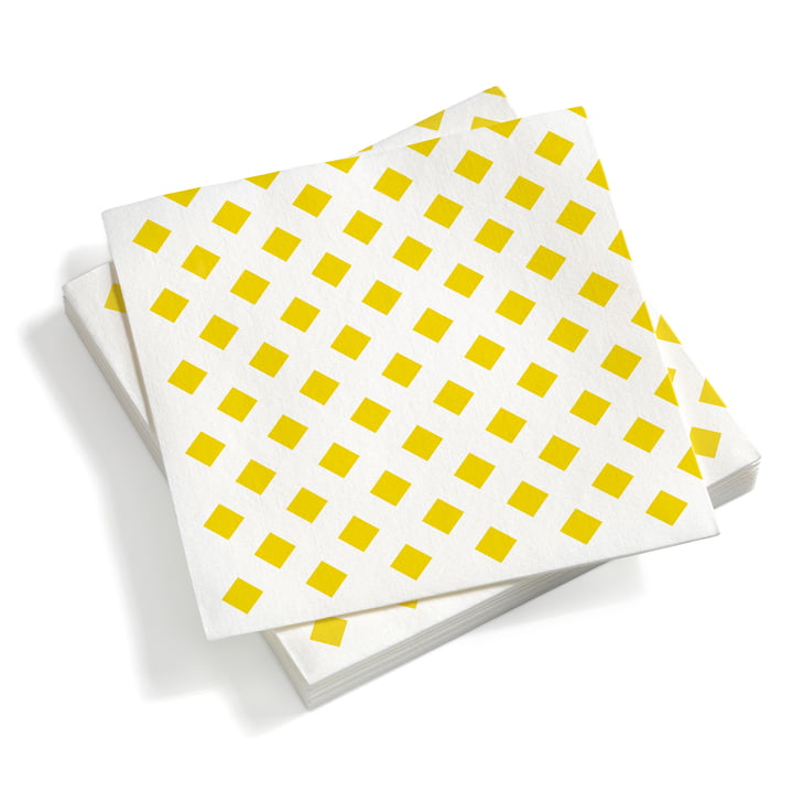Paper Napkins large, La Fonda Checks yellow 40 x 40