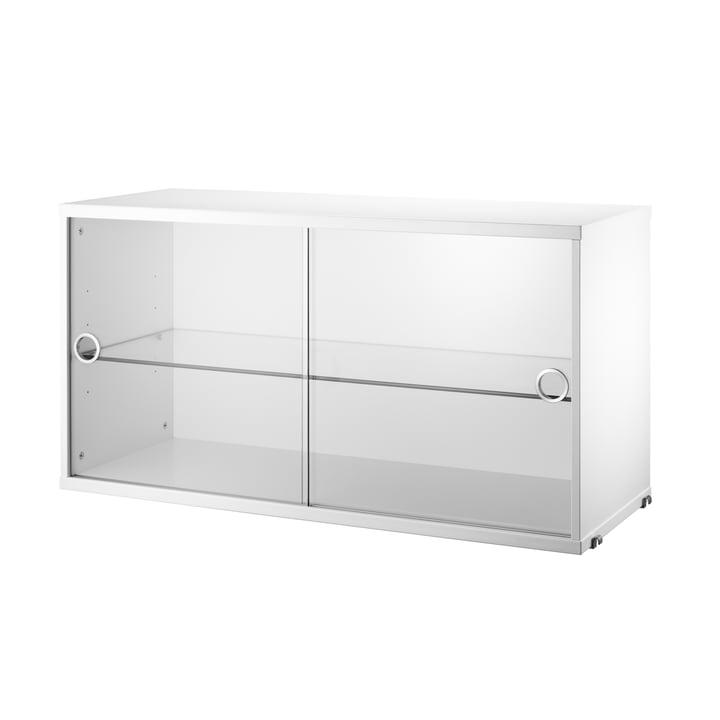 Armoire vitrine avec portes coulissantes en verre 78x30cm par String en blanc