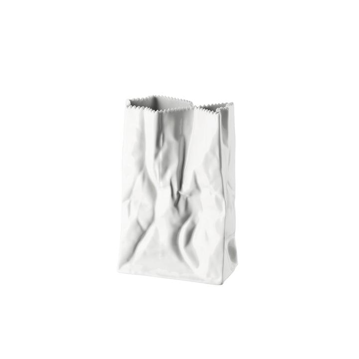 Rosenthal - Vase sac en papier, 18cm, blanc émaillé