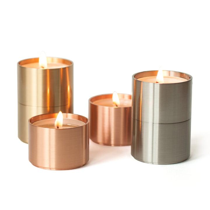 ArchitectMade - Photophores pour bougies chauffe-plat Trepas Six, cuivre/ laiton/acier