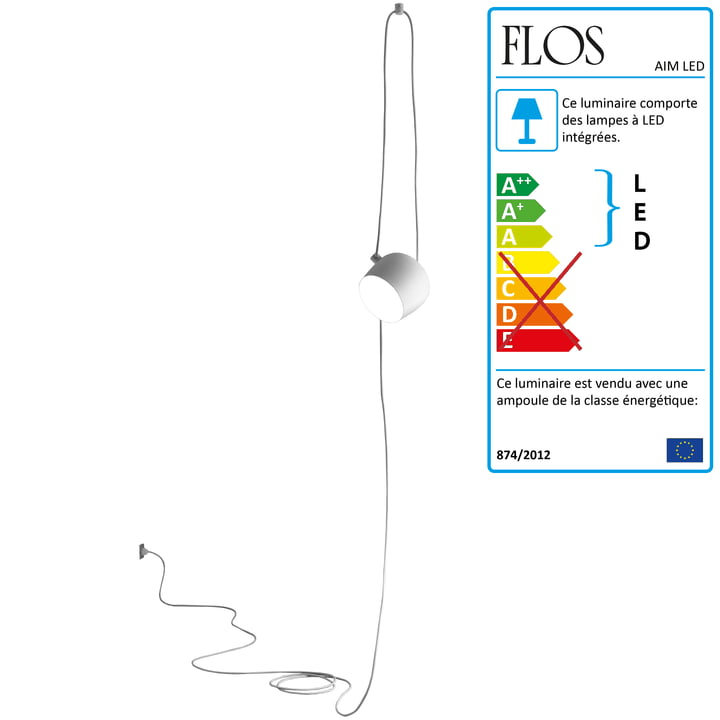 Flos - AIM Small LED suspension Cable + Plug, blanc