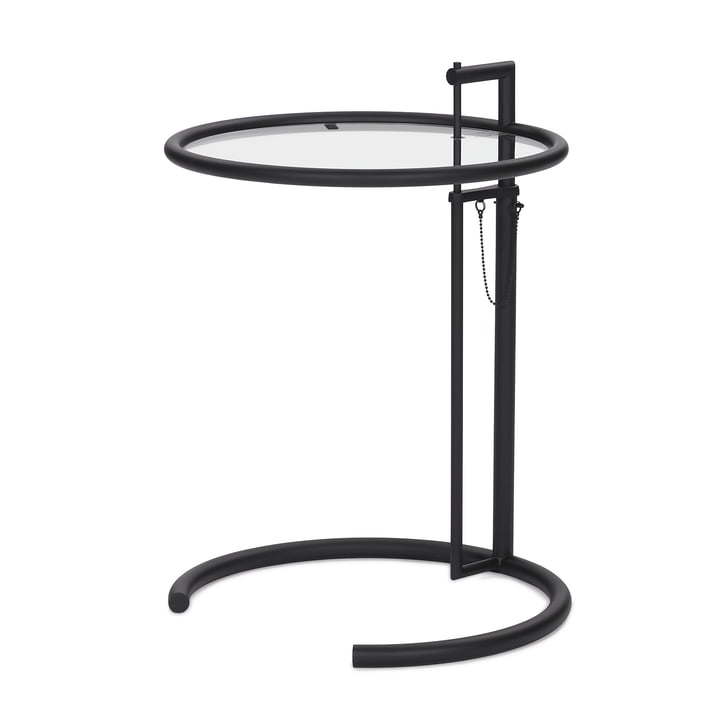 ClassiCon - Table ajustable E1027, noir/cristal