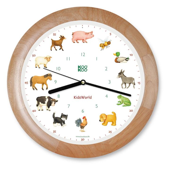 KooKoo - Horloge murale Kids World, bois