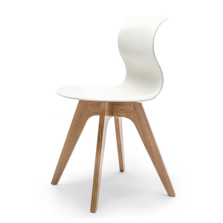 Flötotto - Chaise Pro 6 avec base en étoile à 4 branches en bois, chêne naturel / blanc-neige, patins en feutre