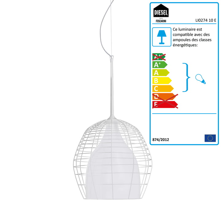 Diesel Living - Suspension lumineuse Cage, petit format, blanc/blanc