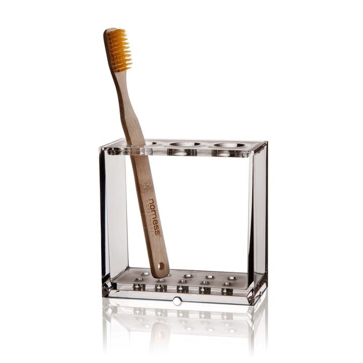 Nomess - Porte-brosse à dents Clear, avec brosse à dents