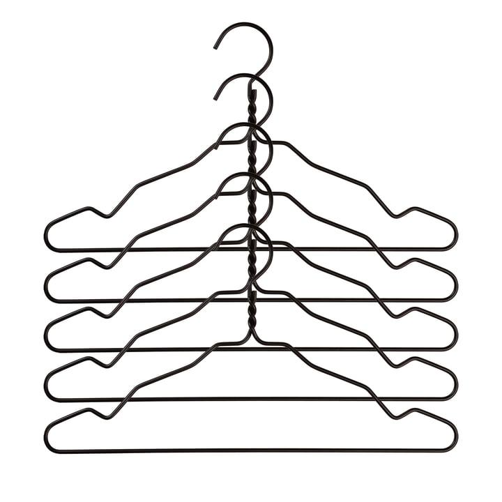 Nomess - Cintres en aluminium avec encoches (lot de 5), noir