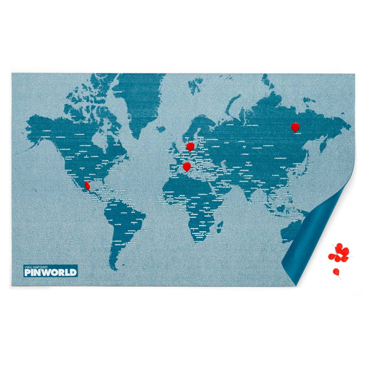Palomar - Pin World, bleu punaises rouges
