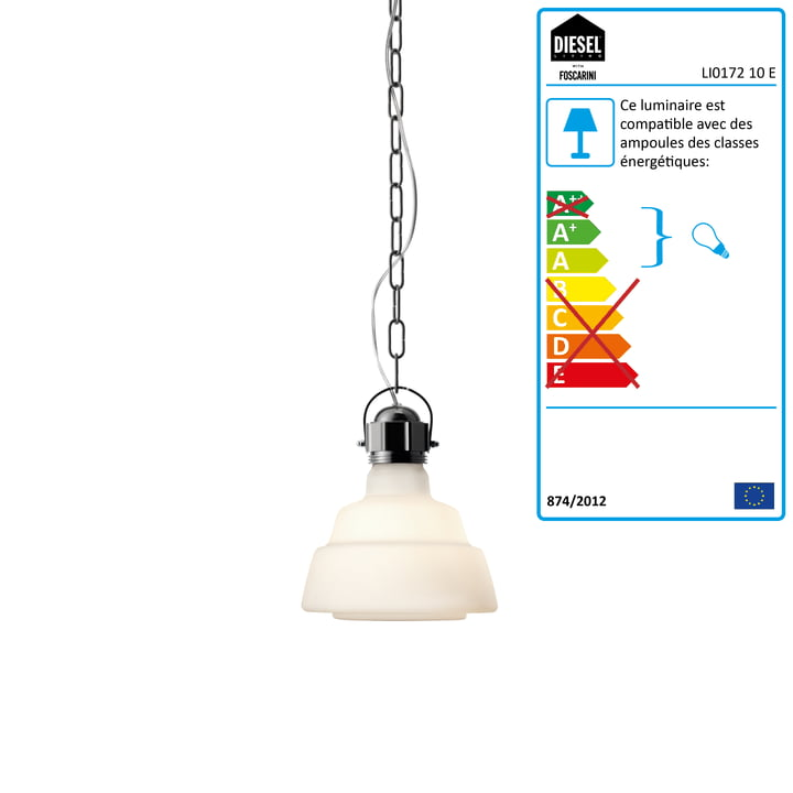Diesel Living - Suspension lumineuse Glas, piccola, blanc