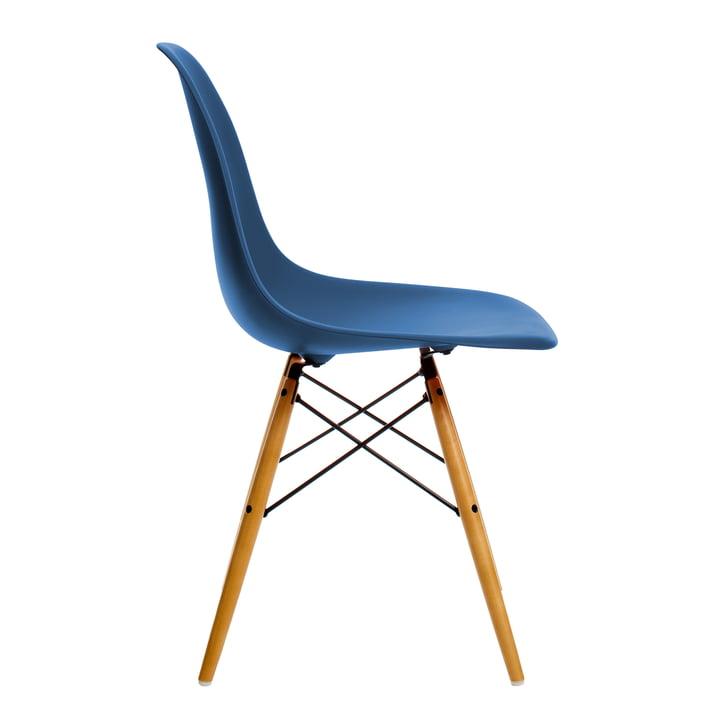 Vitra - Eames Plastic Side Chair DSW, érable jauni, bleu marine