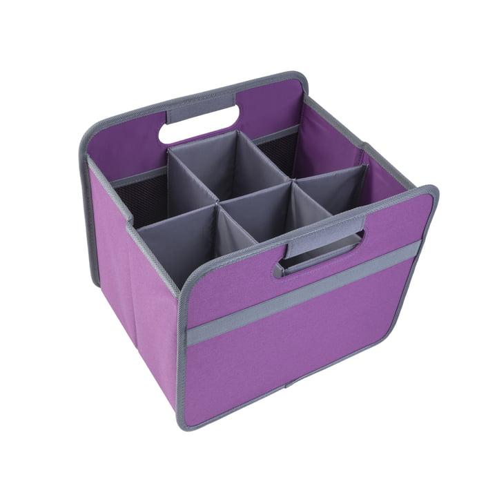 meori - Sixpack, gris/boîte pliante classique 15litres, magenta foncé