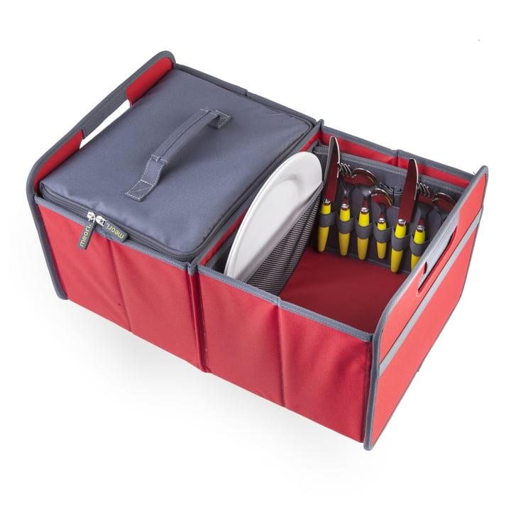 meori - Sac isotherme, gris/boîte pliante classique 30litres, rouge hibiscus uni
