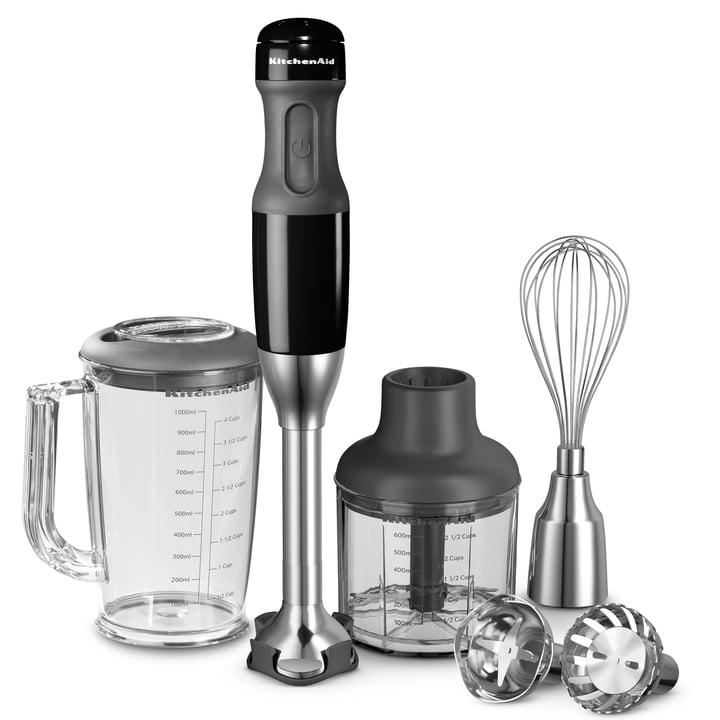 KitchenAid - Mixeur plongeant avec accessoires, noir onyx