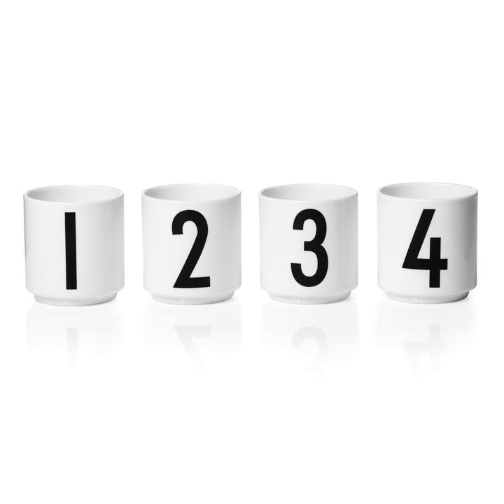Lettres de design - Mini-tasse en porcelaine (Lot de 4)