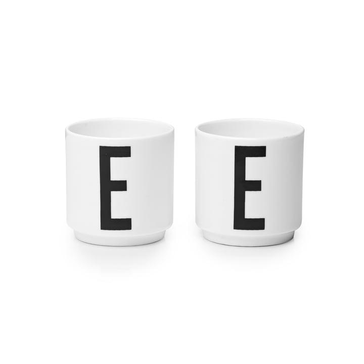 Design Letters - Coquetier en porcelaine E (lot de 2)