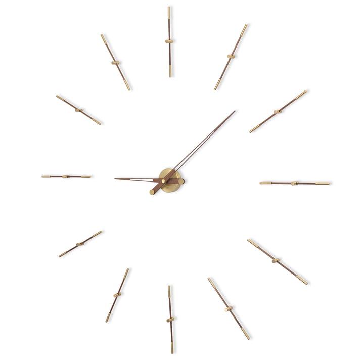 Horloge murale Merlin de nomon avec 12index horaires en laiton et bois de noyer