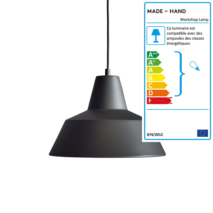 Made by Hand - Lampe Workshop W3 en noir anthracite