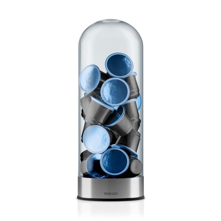 Eva Solo - distributeur de capsules café, vertical avec capsules bleues