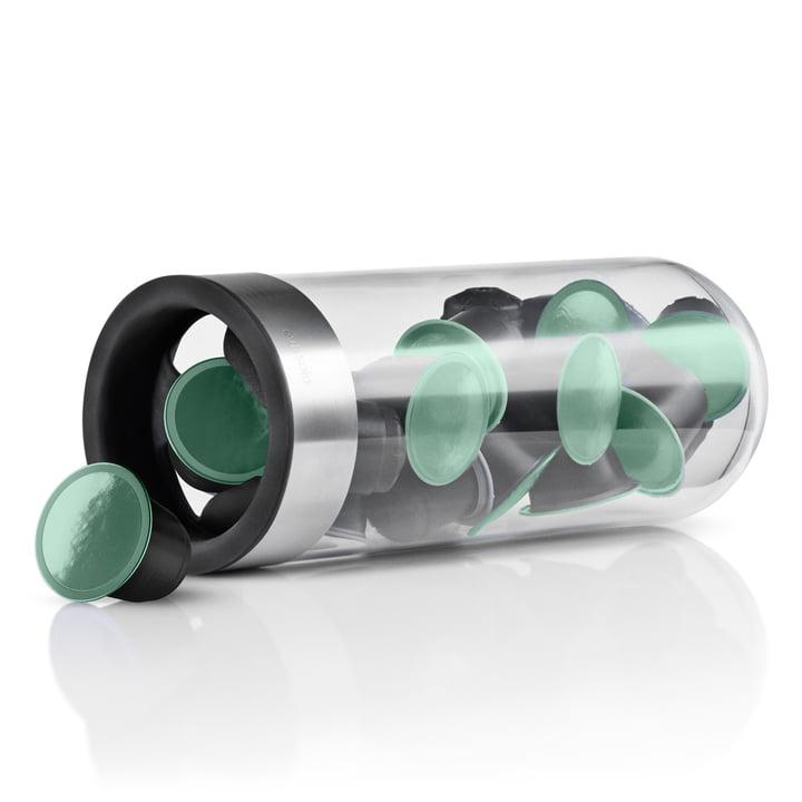 Eva Solo - distributeur de capsules café, horizontal avec capsules vertes