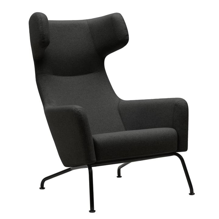 Softline - Havana fauteuil à oreilles, cadre noir / vision grise foncée (439)